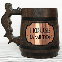 House Stark Mug. Game Of Thrones Mug. Personalized GoT Gift. Custom Game Of Thrones Beer Steins. Game of Thrones Gift. Wooden Beer Tankard. Gifts for Men. Wooden Beer Mug #91 / 0.6L / 22 ounces