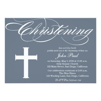 Modern Elegant First Christening Invite for Boys
