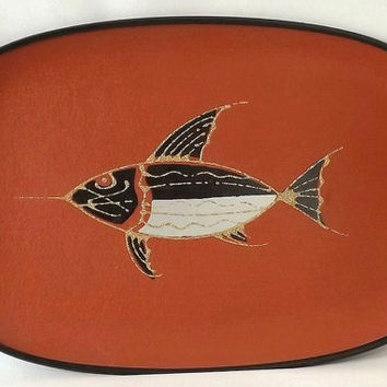 Mid Century Fish Bar Tray, Vintage Barware Orange and Black, Modern Kitchen Decor