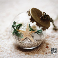 Nature Inspired Jewelry Real Ocean Series Necklace Pendant Gift (HM0080-WHITE)