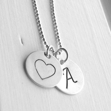 Large Initial Necklace, Heart Necklace, Letter A Necklace, Initial Jewelry, Heart Jewelry, Charm Necklace, Sterling Silver Jewelry