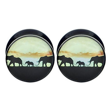 Longbeauty Pair Acrylic Ear Gauges Plugs Flesh Tunnels Expanders Screw Howling Elephant Sunset Jewelry 6MM