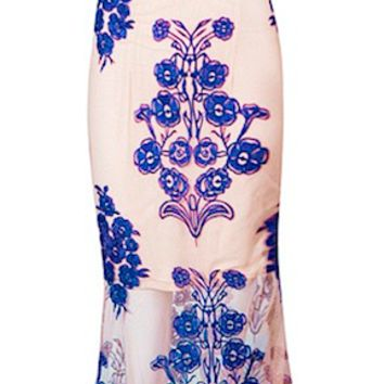 Cooper Lace Embroidered Two Piece Maxi Dress Set - Royal Blue