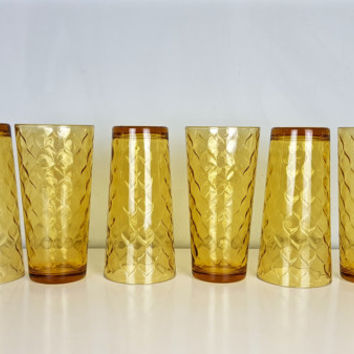 Set of 6 Vintage Fish Scale Amber Tumbler Glasses Anchor Hocking Yellow Quilted Fish Scale Pattern Juice Drink Glasses Retro Kitchenware