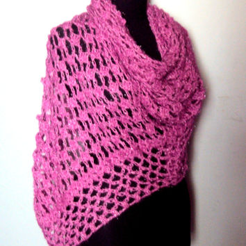 Crochet Fuchsia Shawl Scarf Shoulder Wrap Triangle Shimmery Shawl Spring Summer Fall Winter Women Clothing Accessories Gift Ideas