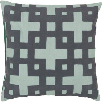 Surya Ikat Dots Pretty Polka Dot Pillow,  Neutral, Blue, Gray