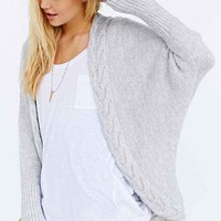Glamorous Cozy Braided Cardigan Sweater- Grey