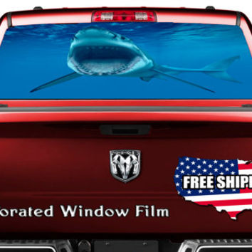 Big White Shark Fish Scuba Decal Full Color Print Perforated Film Truck SUV Back Window Sticker Perf017
