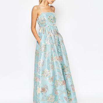 ASOS SALON Ball Gown With Embellished Flowers Dress