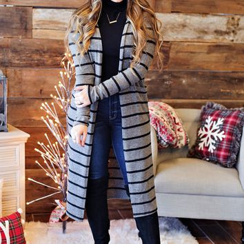 * All You Gotta Do Brushed Stripe Duster Cardigan: Charcoal/Black