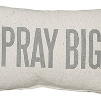 Primitives by Kathy 3-Stripe Pray Big Pillow, 15 by 10-Inch, Tan