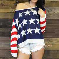 Little Miss Patriotic American Flag Sweater