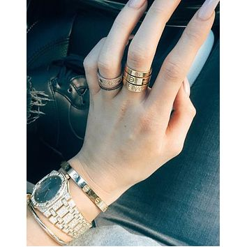 Cartier Simple Women Men Personality Diamond Ring Lovers Lovely Rings Rhinestone Ring I-2
