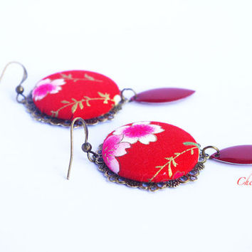 Red Floral Japanese earrings Romantic Spring Flower Asian style jewelry