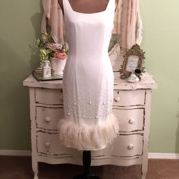 Va Voom! Formal White Dress, Beaded Ostrich Gown, 1950s Dress, M, Hollywood Glam, Vintage Wedding Dress, Hourglass Party Dress, Medium