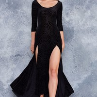 BURNED VELVET 3/4 SLEEVE MAXI DRESS