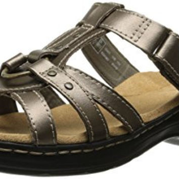 Clarks Women's Hayla Theme Wedge Sandal, Pewter, 6 M US