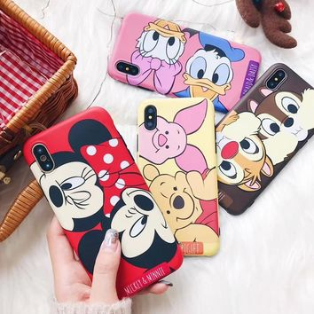 JAMULAR Cartoon Mickey Minnie Mouse Case For iPhone 6 6s 8 X 7 Plus XR XS MAX Cover For iPhone 7 Plus Piglet Soft TPU Fundas