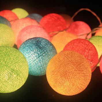 20 LED Battery Powerd  Pastel  -  cotton Ball String Lights for Home Decoration,Wedding,Party,Bedroom,Patio and Decoration