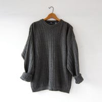 vintage slouchy sweater. oversized gray green sweater. chunky pullover.