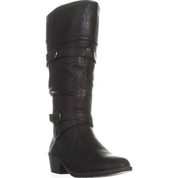 Easy Street Kelsa Wise Calf Harness Boots, Black/Embroided, 10 US