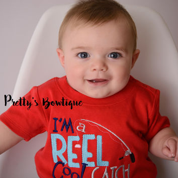 I'm a reel cool catch bodysuit or shirt boy -- Embroidered fishing shirt -- Boys Fishing shirt -- Boys summer shirt--kids fishing shirt
