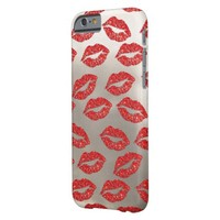 red glitter lips pattern on silver look barely there iPhone 6 case