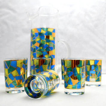 Mid Century Cocktail Pitcher with 7 Glasses, Geometric Stained Glass Pattern, Culver? Blue, Green, Yellow and Black, 1960s