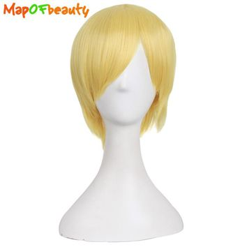 "MapofBeauty 12"" Cosplay wig Blonde Short straight Synthetic hair Heat Resistant Nautral false hair Halloween Costume Hairpiece"