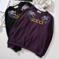 ''GUCCI'' Women Men Thick Wolf Embroidery Round neck letters long sleeve sweater sweatshirts
