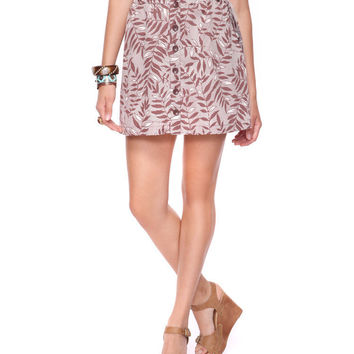 Button Front Tropical Skirt