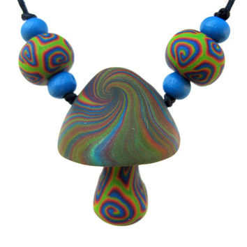 Mushroom pendant, psychadelic swirl patterns, handmade from polymer clay, one of a kind, bright hippie necklace, rainbow colors, spirals