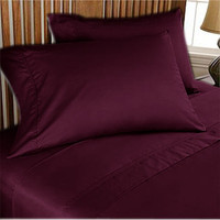 1000TC Egyptian Cotton Wine Solid Sheet Set 4pc - Available in All Size