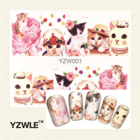 1 Sheet Cute Cat Nail Art Water Decals Transfer Stickers, Manicure Decor Tool Cover Nail Wrap Decal