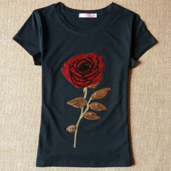 Hot sale fashion show thin Bead piece the roses T-shirt black