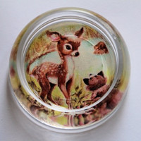 Glass Fawn and Raccoon Paperweight with Upcycled Vintage Glass