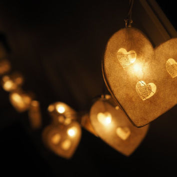 SALE White Heart Fairy String Light - 20 Heart Love  Lights Fairy lights Party Decor Wedding Garden Spa and Holiday Lighting, Valentine