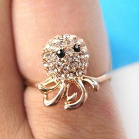 Small Octopus Squid Animal Ring with Rhinestones in sizes 5 and 6 Only