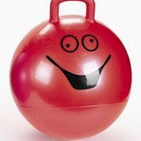 RED Goofy Smiley Face Hopper Hopping Ball Kids Toy