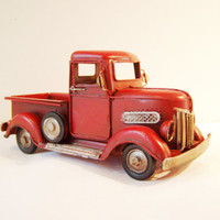 Scarlet pick-up truck, retro collectible,