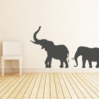 rta220 Family Elephants Animals Jungle Safari Kids Nursery Baby Living Room Bedroom Wall Decal Vinyl Sticker Decals Art Decor Design