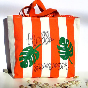 Canvas summer bag orange white stripped cotton shoppers beach bag appliqued with tropical leaves and sea adventure, hand appliqued