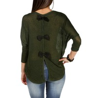 OliveBlack Bow Back Dolman Top