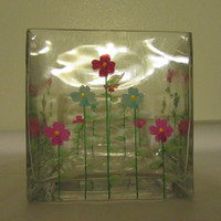Vintage Hand Painted Square Cut Glass Vase - Red, Blue and Purple Accent Flowers