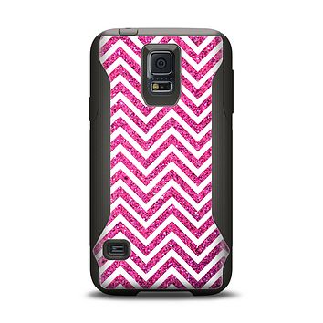 The Pink & White Sharp Glitter Print Chevron Samsung Galaxy S5 Otterbox Commuter Case Skin Set