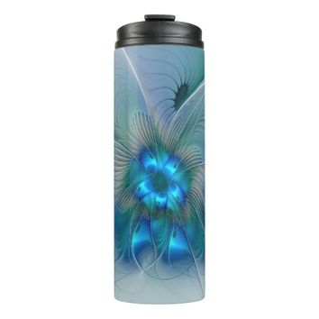 Standing Ovations, Abstract Blue Turquoise Fractal Thermal Tumbler