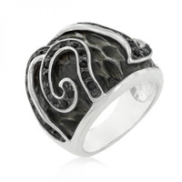 Black Cubic Zirconia Snake Inspired Cocktail Ring