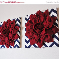"MOTHERS DAY SALE Two Wall Flowers -Cranberry Red Dahlia on Navy and White Chevron 12 x12"" Canvas Wall Art- 3D Felt Flower"