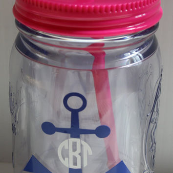 Monogram/Personalized Mason Jar Tumbler-Acrylic.  Pink and Blue are SOLD OUT for now....