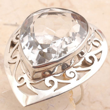 Giant Cocktail Ring in 925 Sterling Silver Crystal Quartz